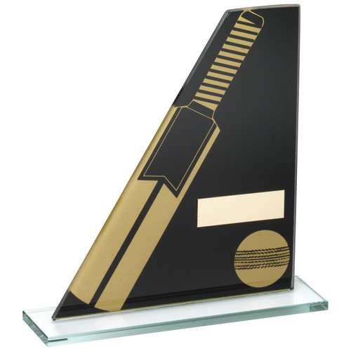 Black/Gold Printed Glass Plaque With Cricket Bat/Ball Trophy