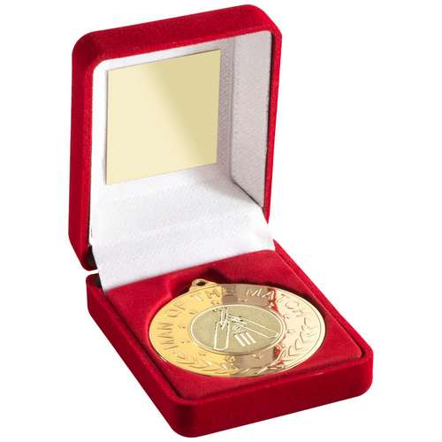 Red Velvet Box And 50Mm Medal With Cricket Insert 'M.O.T.M' Trophy