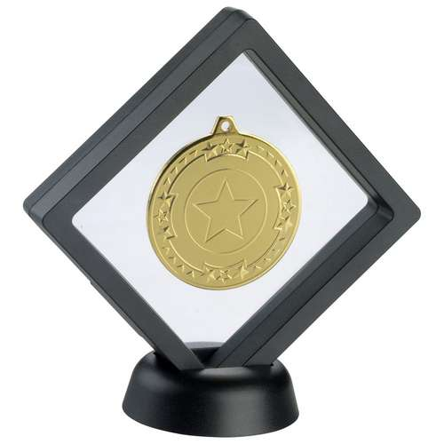 Black/Clear Plastic Medal Box With Stand