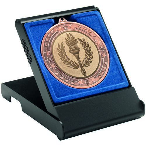 Black Medal Box Large (50/60/70mm Recess Blue Insert)