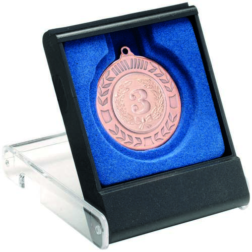 Black/Clear Medal Box Small (40/50mm Recess Blue Insert)