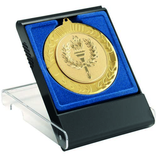 Black/Clear Medal Box Large (50/60/70mm Recess Blue Insert)