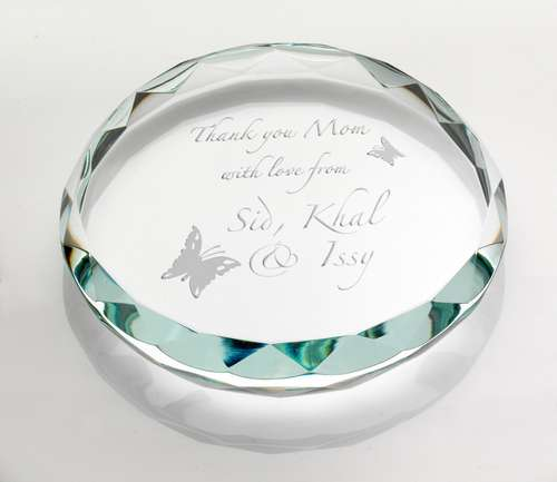 Clear Glass Round Paperweight With Faceted Edge