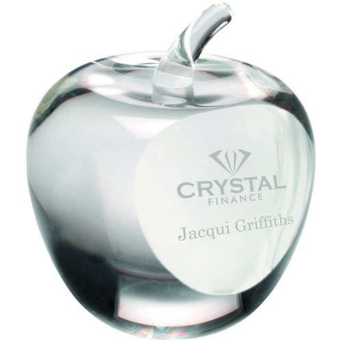 Clear Glass 'Apple' Paperweight With Presentation Case