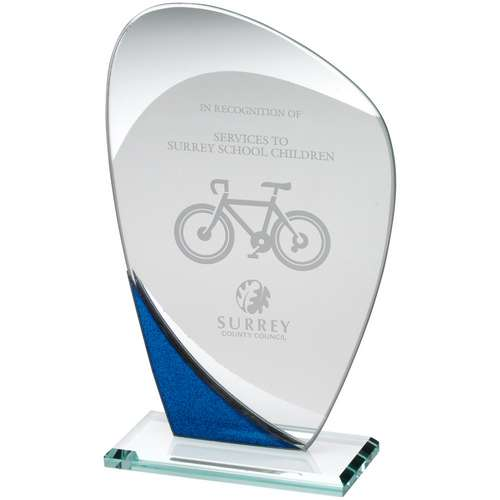 Jade Glass Curved Plaque With Blue/Silver Detail